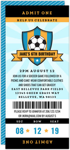 Blue Soccer Ticket Sports Party Invitation