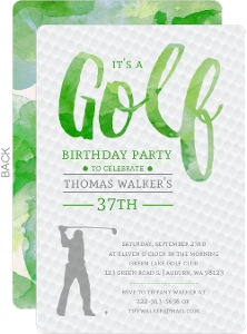 Green Watercolor Golf Birthday Party Invitation