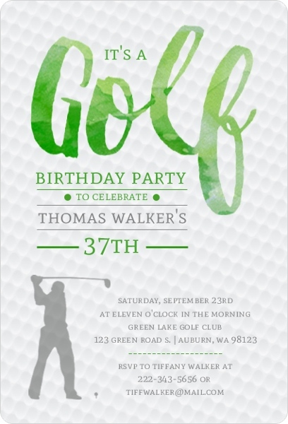 Green watercolor golf birthday party invitation sports invitations green watercolor golf birthday party invitation filmwisefo