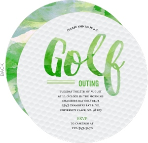 Green Grass Stain Golf Ball Invitation