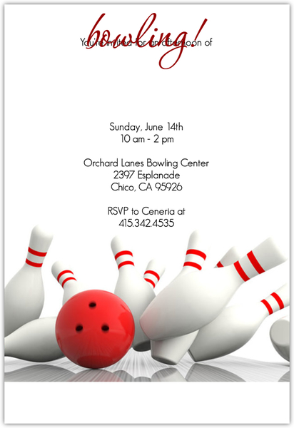 Strike Bowling Invitation  Sports Invitations