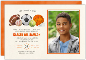 Let's Have a Ball Sports Birthday Invitation