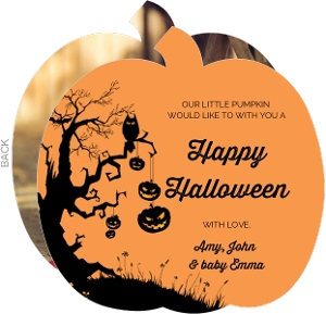 Tree Pumpkin Photo Halloween Card