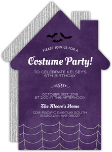 Silver Spider Web Halloween Birthday Invitation
