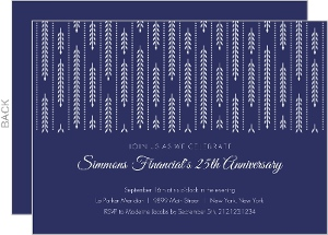Navy Willow Pattern Business Anniversary Invitation