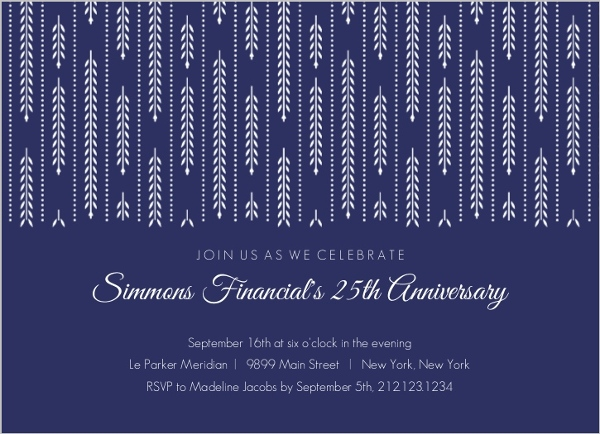 navy willow pattern business anniversary invitation business