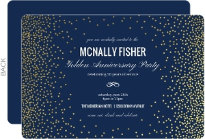 Gold Confetti Foil Frame Business Anniversary Invitation