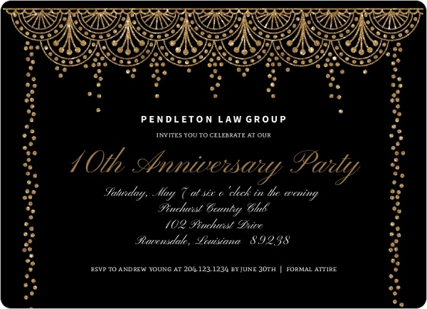 formal glam business anniversary invitation business anniversary