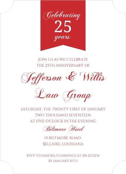 Red Modern Banner Business Anniversary Invitation