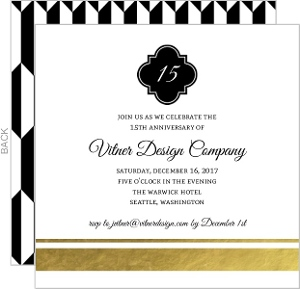 Classic Black and Gold Foil Business Anniversary Invitation
