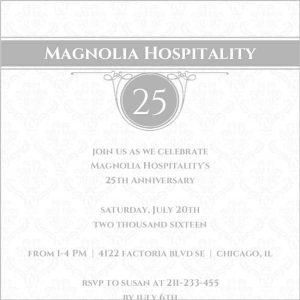 classic baroque pattern business anniversary invitation business