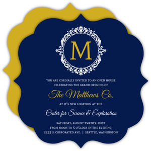 Navy and Gold Frame Business Party Invitation