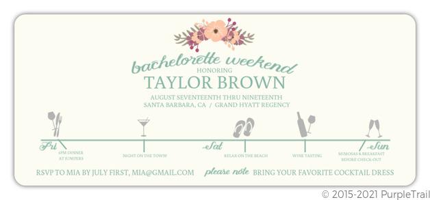 29e3e97cd230 Weekend Itinerary Bachelorette Party Invitation