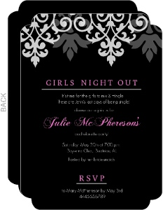 Black And Pink Flourish Bachelorette Party Invitations