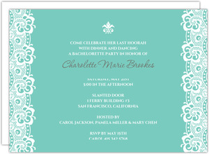 Turquoise and White Bachelorette Party Invites