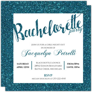 Faux Teal Glitter Bachelorette Party Invitation