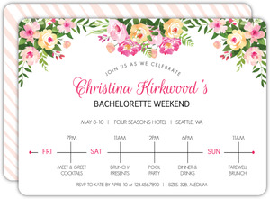 Pink Floral Weekend Bachelorette Party Invitation