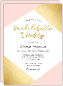Faux Gold Corners Printable Bachelorette Party Invitation