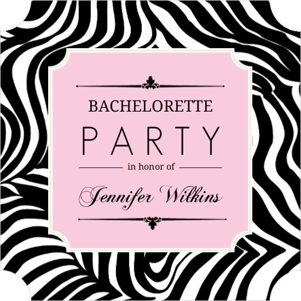 Zebra Print Pink Frame Bachelorette Party Invitation