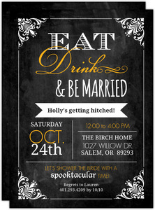 Chalkboard Vintage Frame Bridal Shower Invitation