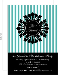Turquoise And Black Elegant Floral Frame Bachelorette Party Invitation