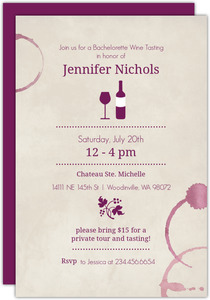 Rustic Wine Rings Bachelorette Party Invitation