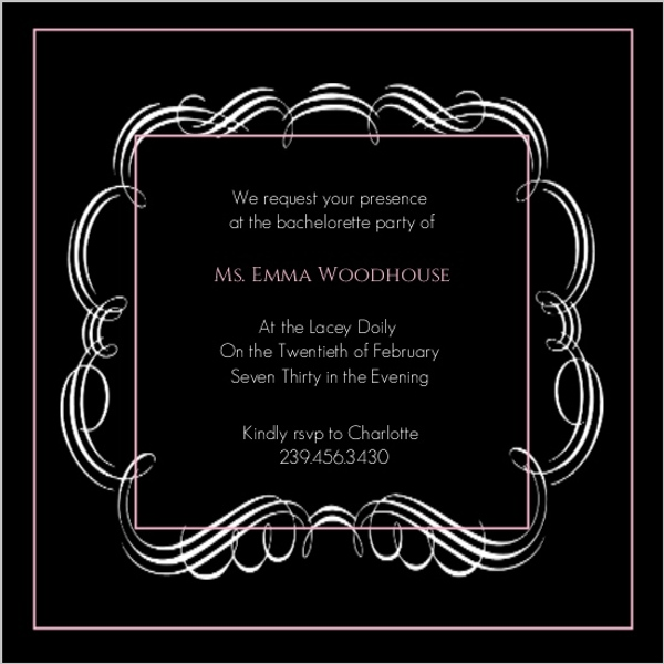 Black with Pink Frilly Bachelorette Party Invitation