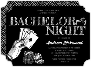 Sketched Black & White Poker Bachelor Party Invitation
