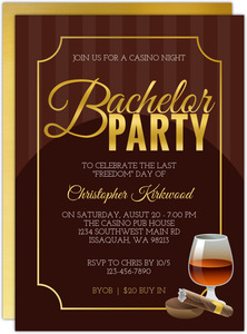 Poker And Cigar Bachelor Party Invitation