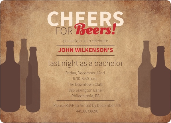 Rustic Beer Bachelor Party Invitation Bachelor Party Invitations