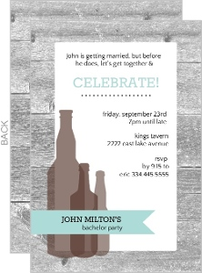 Gray Wood And Brown Beer Bachelor Party Invitation