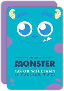 Blue Monster Halloween Birthday Party Invitation