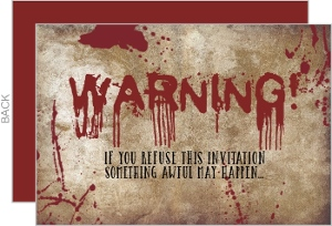 Bloody Warning Halloween Party Invitation