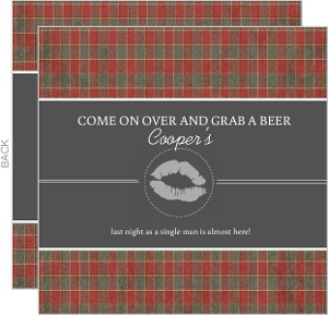 Red Green And Gray Plaid Bachelor Party Invitation