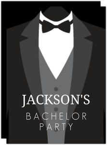 Classic Tuxedo Bachelor Party Invitation