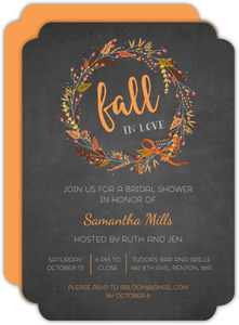 Rustic Autumn Foliage Wreath Bridal Shower Invitation
