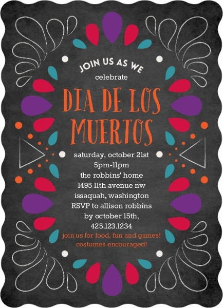 Dia De Los Muertos Colorful Chalk Frame Invitation Halloween