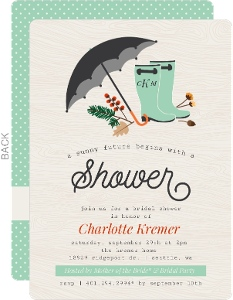 rustic rain boots and foliage bridal shower invitation