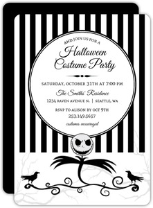 Striped Scarecrow Halloween Party Invitation