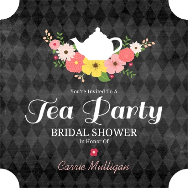chalkboard flowers elegant tea party bridal shower invitation