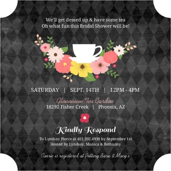 25a06dc5f0f Chalkboard Flowers Elegant Tea Party Bridal Shower Invitation ...