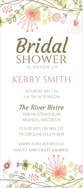 Spring Floral Border Bridal Shower Invitation Bridal