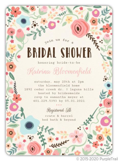 Whimsical Garden Frame Bridal Shower Invitation Bridal Shower