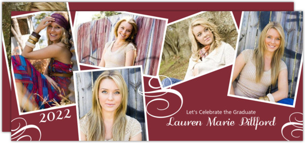 Elegant Photo Snap Shots Graduation Invitation