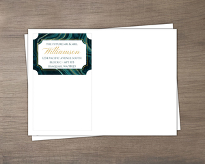 Turquoise & Faux Foil Geode Wedding Envelope