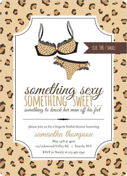 leopard pattern lingerie bridal shower invitation