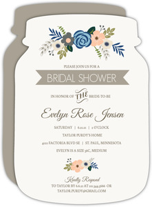 Soft Blue and Taupe Floral Bridal Shower Invitation