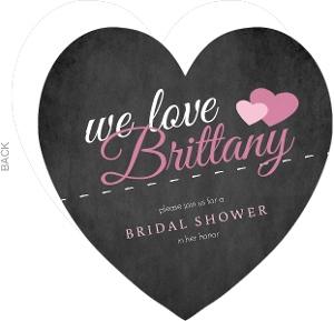 Black And Pink Chalkboard Bridal Shower Invite