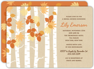 Fall Birch Trees Bridal Shower Invitation
