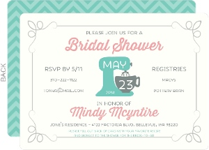 retro kitchen recipe bridal shower invitation